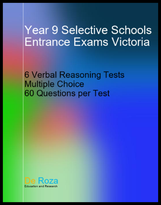 Picture of VIC Set of 6 Verbal Reasoning Tests - Yr 8 for Yr 9 Selective School Entrance