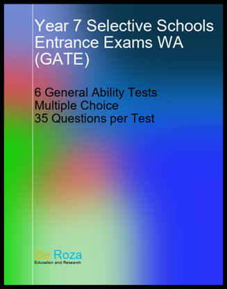 WA Set of 6 Quantitative Reasoning Tests - for the GATE (Gifted and Talented Secondary Selective Entry Program) entrance exam (for entrance into Western Australia selective schools) - Yr 6 for Yr 7 entry