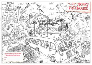 The first colouring is of the incredible penguin-powered flying treehouse tour bus!
